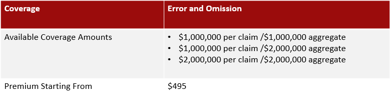 Chart Depicting the available limits for life agents insurance