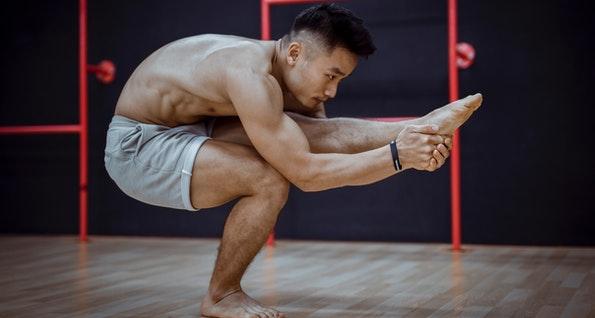 Man yoga training